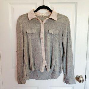 Monteau Grey/Pink Button Down Blouse